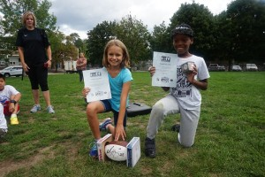 Kids with awards at the Football Clinic
